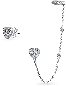Silver CZ Linked Earrings Heart Ear Cuff Set Rhodium Plated