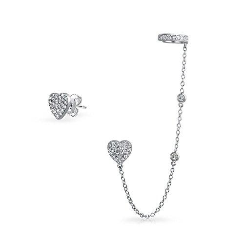 Bling Jewelry Silber CZ verknüpfte Ohrringe Herz Ohr Manschette eingestellt Rhodiniert