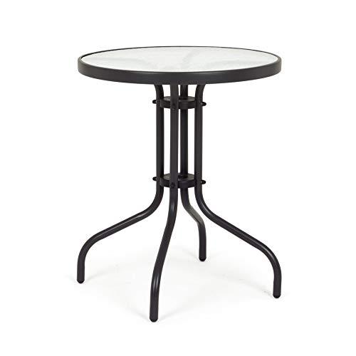 ARREDinITALY Table bistrot Ronde de 60 cm en métal avec Plateau en Verre