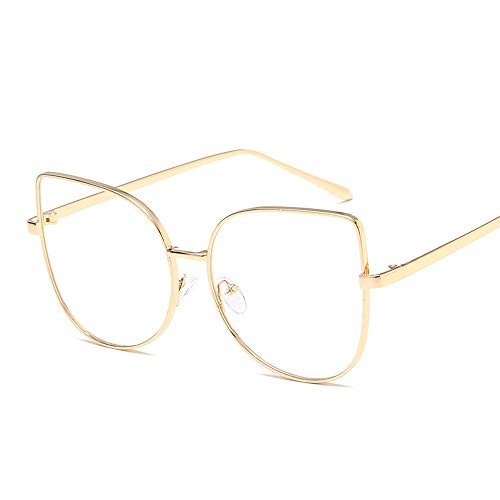 Cat Eye Flat Mirror Klassische Mode Retro Blue Film Flat Glasses Runde Metallrahmen Unisex Plain Glasses Brille (Color : Gold, Size : Kostenlos)