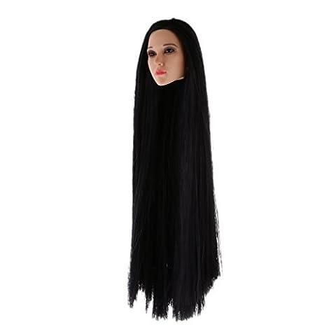 Gazechimp 1 Stück 1/6 Weiblicher Kopf Sculpt, Langes Haar, Bewegliche Augäpfel, Rosa Lip und Thin Wimpern, Sammlung - QH0005