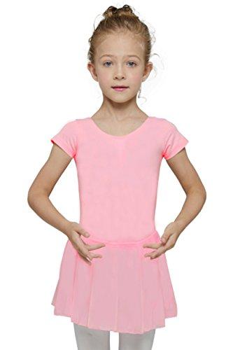 Mdnmd Mädchen Ballettkleid mit Rock und kurze Ärmel (Höhe 160cm ( Jahre 10-12 ), Rosa) (Hohe 12)