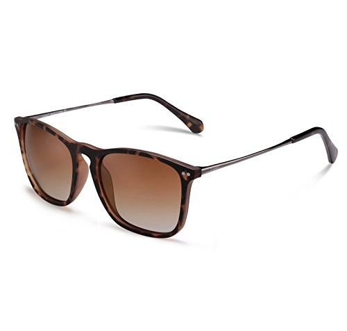Carfia Vintage Polarisierte Herren Sonnenbrille Fahrer Brille 100% UV400 Schutz für Autofahren Reisen Golf Party und Freizeit - Ultraleicht Rahmen (Braun)