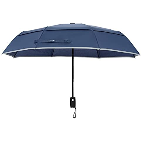 Arcadia al aire libre Ventilación doble cubierta resistente al viento paraguas de viaje con reflectante Edge, Auto Abrir/Cerrar, garantía de por vida, hombre infantil unisex Infantil Mujer, azul marino