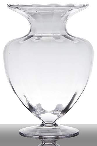 INNA-Glas Bodenvase Glas Kendra auf Standfuß, Trichter - rund, klar, 42cm, Ø 32cm - Pokal Vase - Amphore Vase