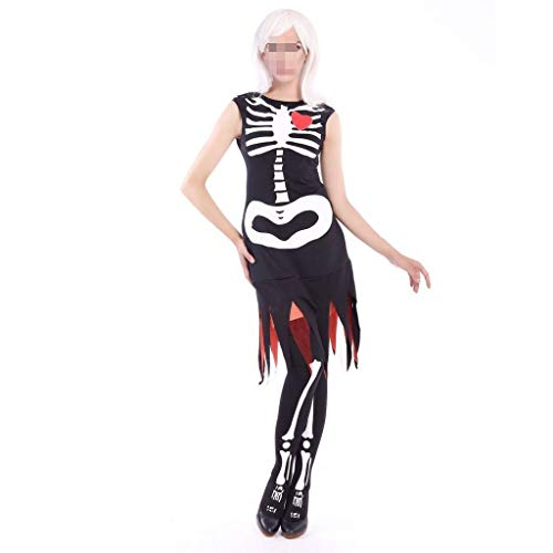 Halloween Lace Seitenrock Ghost Bride Cosplay Kostüm White Bone Pattern Print Ghost Festival Maskerade Ärmelloser Rock (Color : Black, Size : - Black Und White Ghost Kostüm