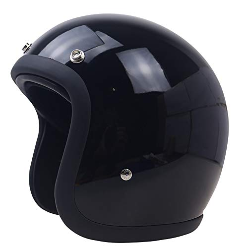 YGFS Schwarz Retro Fiberglas Helm Harley Motorrad Halb Helm Halb Bedeckt Outdoor Riding Protection Sicherheit 3/4 Helm