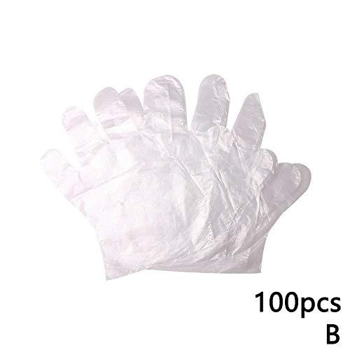 Snow Island Einweg-Handschuhe, Kunststoff, transparent, für den Garten, Restaurant, Zuhause, zum Backen von Lebensmitteln, Einweghandschuhe, Sushi-Herstellung, 100 Stück