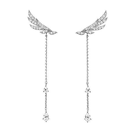 Hanie Damen Ohrringe hängend Lang Engelsflügel Quasten Ohrhänger 925 Sterling Silber Weiß Tropfen Swarovski Elemente Zirkonia können als Ohrstecker / Lang Ohrhänger tragen