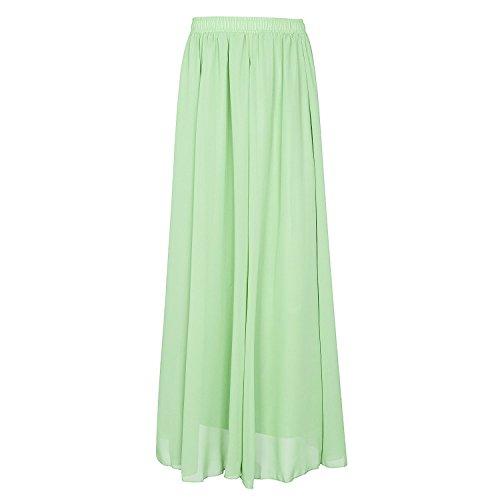 CoutureBridal® Femme Jupe longue Jupe d'été Elastic Ceinture Chiffon 90cm Vert Clair