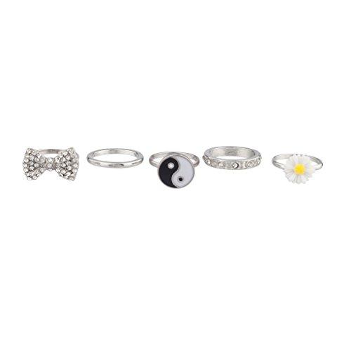 Lux accessori di girasole, Yin Yang per amici, motivo: simbolo della pace con fiori multipli (Anello Fiore Crystal Rose)