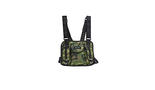 1x Tactical Harness Chest Rig Bag Donna Radio Hip-Hop con due tasche marsupio