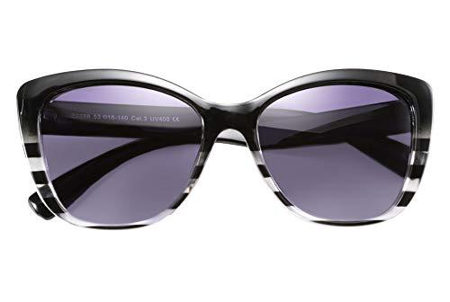 FEISEDY Feedy Polarisierte Vintage Sonnenbrille American Square Jackie O Cat Eye Sonnenbrille B2451 Gr. 56, gestreift