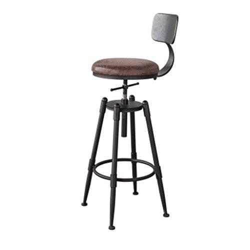 RXL Barhocker Verstellbare Sitzhöhe (68-90cm) Massivholz Eisen Barhocker American Retro Barhocker Hochstuhl Coffee Chair Lounge Chair Barhocker (Farbe : Soft Cushion, größe : B) - Barhocker Eisen