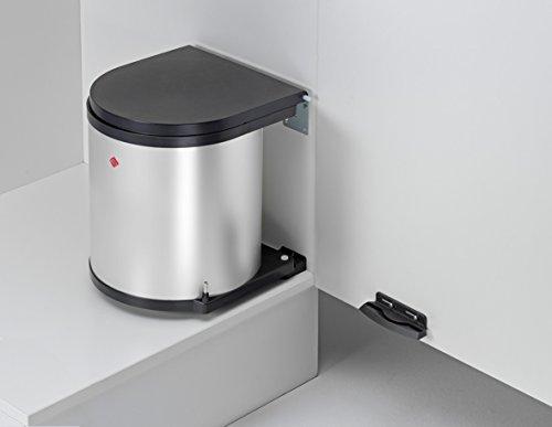 Einbau Abfallsammler-Kücheneimer 15 Liter rund - Silber Optik- schwenkbar für Schranktüren ab 40 cm Schrankbreite Unterschränke Mülleimer Küche WESCO