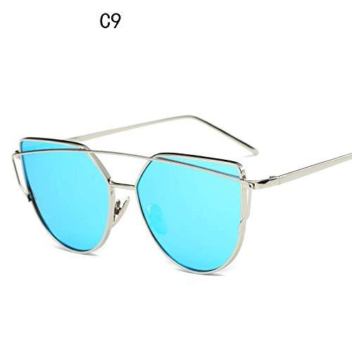YUHANGH Cat Eye Vintage Rose Gold Spiegel Sonnenbrille Für Frauen Metall Reflektierende Flache Linse Sonnenbrille Weibliche Oculos