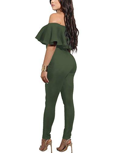 CoCo Fashion Damen Jumpsuit Ärmellos Overall Spielanzug Spaghettiträger Hosen Lang (EU 38, 2186-Arm (Outfits Armee)