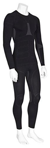 icefeld®: Sport-/ Ski-Thermo-Unterwäsche-Set für Herren seamless (nahtfrei) in schwarz/grau M - 2