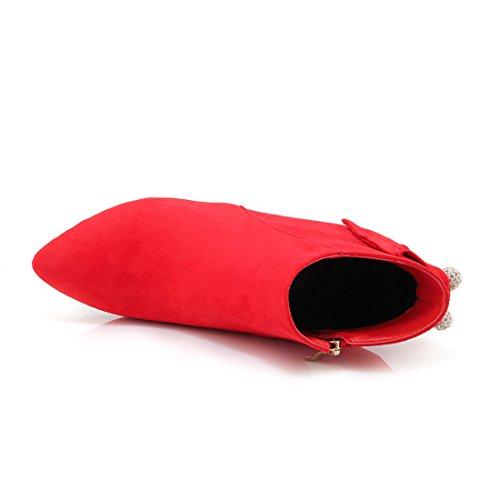 UH Femmes Bottines Suede à Talons Moyenne Aiguilles avec Noeud Papillon et Perle Bout Pointu Elegantes Rouge