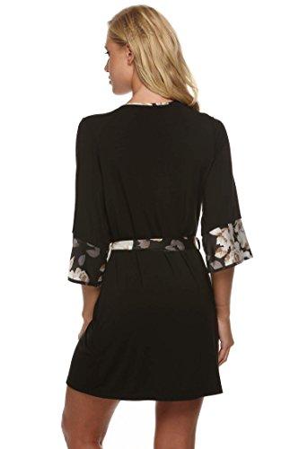 Ekouaer Kimono Robe de Chambre Femme Nuit Sexy Courte Taille 32-50 XS-XL Noir