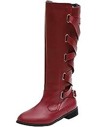 Stiefel Damen, ABsoar Cowboystiefel Mode Frauen Leder Stiefel  Freizeitschuhe Klassische Stiefeletten Roman Riding Kniehohe Lange 2da6d0469d