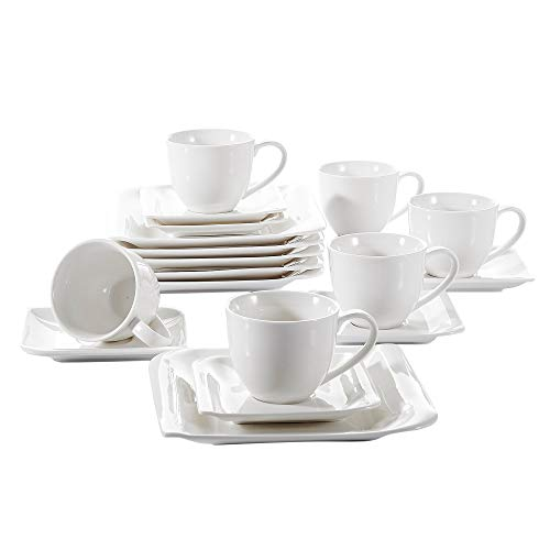 Vancasso Cloris 18-Piece Coffee Sets Ivory White Porcelain Afternoon Tea Sets with Cups Saucers Set and Dessert Plates, Service for 6 Persons