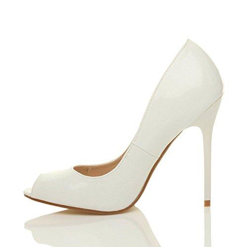Femmes talon haut fête simple bout ouvert escarpins chaussures sandales pointure Blanc verni