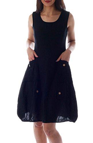 Damen Leinen Kleid rmellos mit schnen Details (XL = 40, Schwarz)