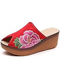 KAFEI Lady Bestickte Schuhe Traditionelle Vintage Gummisohlen, Rot, 39