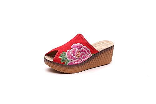 KAFEI Frauen bestickte Schuhe Hausschuhe retro Fisch Mund Hang mit Tang Anzug Kostüme Kostüme, 36, Rot
