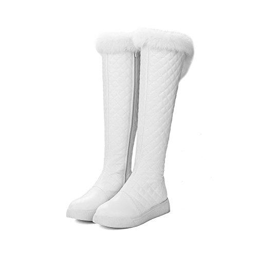 AllhqFashion Damen Niedriger Absatz Weiches Material Hoch-Spitze Rein Reißverschluss Stiefel Weiß