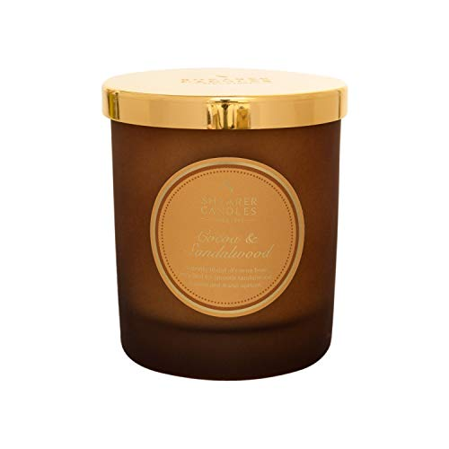 Shearer Candles Duftkerze im Glas, Kakao und Sandelholz, Duftkerze im Glas, Baumwolldocht, Duft & ätherische Öle, Ombre, Gold, Weiß, 20 cl -