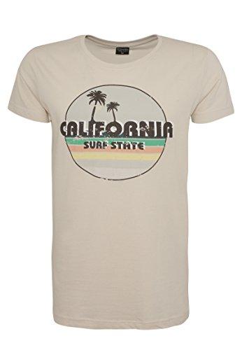 Stitch & Soul Herren Vintage Look T-Shirt Surf State | Leichtes Baumwoll-Shirt IM Retro Design Light-Beige L (Vintage-jersey Vintage California)