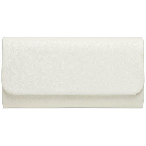 CASPAR TA371 Damen Baguette Clutch Tasche Abendtasche, Farbe:weiss;Größe:One Size