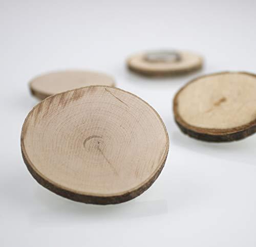 Steinmine - Designmanufaktur Starke Holzscheibenmagnete Neodym für Magnettafeln, Whiteboards und Kühlschränke (Magnetholzscheibe, 4)