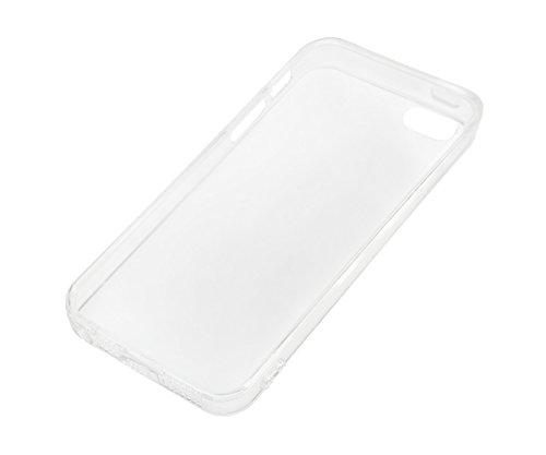 Lilware Imprint Étui Flexible En Gel TPU Sangle Portable Incluse, Radiant Carbon Black, Apple iPhone Se / 5 / 5S Zig Zag