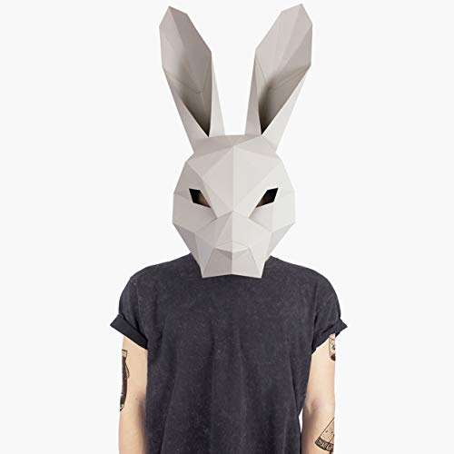 Maske Hase Kaninchen | Masken der Tiere | Masken Basteln | Maske Herren, Damen, Kinder| Maske für Halloween, Fasching, Karneval, Party Kostüm, (Diy Herren Halloween Kostüm)