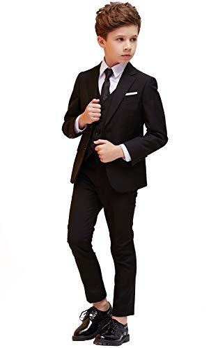 ELPA Jungen Anzug Smoking 5 Stück Slim Fit Formale Kleidung Kinderkostüm für Hochzeit Kommunion zurück zu Schule Taufkleid, Schwarz, 4 inch-3 / 4 Jahre (Anzüge Jungen Kommunion Für)