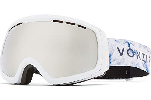 Von Zipper Unisex Feenom NLS Brille, White Satin w/Wild Silver Chrome & Yellow, Einheitsgröße