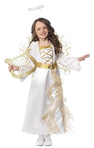 Smiffys, Kinder Mädchen Engel Prinzessin Kostüm, Kleid und Haarreif, Größe: M, 39100