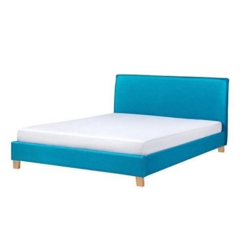 Beliani Polsterbett blau Lattenrost 180 x 200 cm SENNEZ