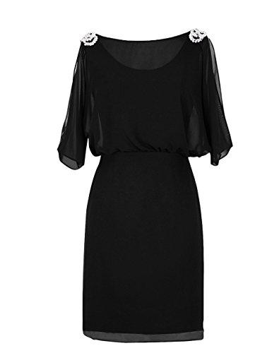 Dresstells, robe courte de demoiselle d'honneur mousseline manches courtes, robe de mère de mariée avec strass Noir