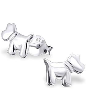 Kinder Silber Hund Schlicht Ohrstecker