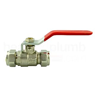 Advantay stopcock ball valve, 15 mm, red handle, only for warm water