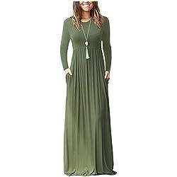 ZNYSTAR Mujer Casual Playa Estidos Largos Maxi Vestido con Bolsillo (Small, Army Green,Manga Larga)