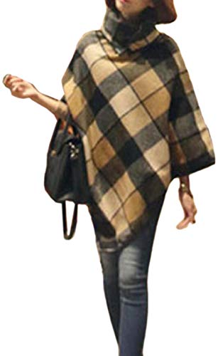 Generic Womens Fall Winter Western Plaid Checked Poncho