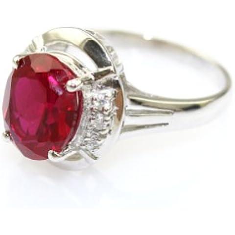 925, placcata in oro bianco, colore: argento-20 x 25 mm con anello, con rubino sintetico e zirconi - Rosa Ha Placcato Argento