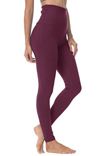 QUEENIEKE Damen-hohe Taillen Yoga Leggings Hosen Trainings Strumpfhosen laufen Farbe Dunkles Rosenrot Größe XXL