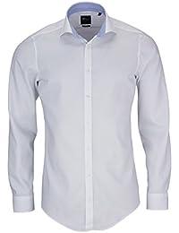 VENTI Body Stretch Hemd Langarm Streifen weiß