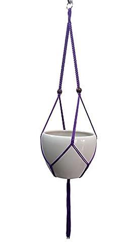 Makramee Pflanzenhänger & Halter, zum Aufhängen Übertopf 2Beine Blumentopf für drinnen Aufhängen Nylon Seil 144,8cm ohne die weiß den Topf